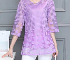 Women Summer Blouses Shirt Chiffon Women Tops New Fashion Women Blouses Plus Size M-5XL White Pink Purple Lace Blouses 11E Lace Blouse