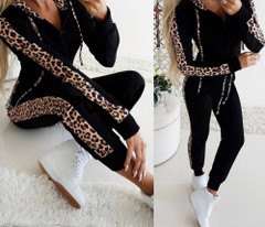 Winter Hot Selling Women Casual Sportswear Hoodies Long-Sleeved Suit Sexy Leopard Patchwork Ladies Tracksuits Womens Suits