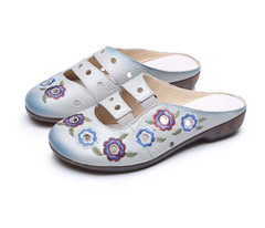 Summer Women Slippers Embroidery Cut-Outsenuine Leather Women Sandals Slides Flat Comfortable Shoes Woman Leather Sandals For Women