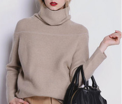 New And Winter Cashmere Sweater Women's High Collar Thick Solid Color Sweater Knit Sweater Wild Pullover Long Sleeve Cardigan