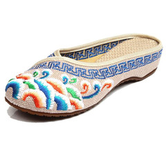 Handmade Flower Embroidery Slippers Summer Fashion Women Chinese Style Casual Shoes Woman Flip Flops E183 Flip Flop Shoes