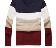 Men Patchwork Thick Fleece Sweaters V-Neck Cashmere Sweaters Clothing Men's Pullovers Men's Casual Sweaters
