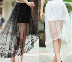 Vintage Women Stretch High Waist Net Skirt Pleated Swing Ladies Black White Long Skirt High Waisted Skirt