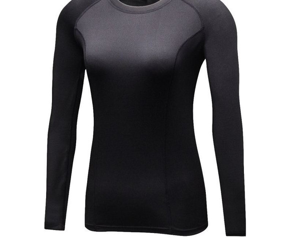 Women Compression Plus Velvet Long Sleeve T-Shirts Casual Clothes Tights Long Sleeve Quick Dry Thermal Base Layer Tops LM75 Women's Shirts