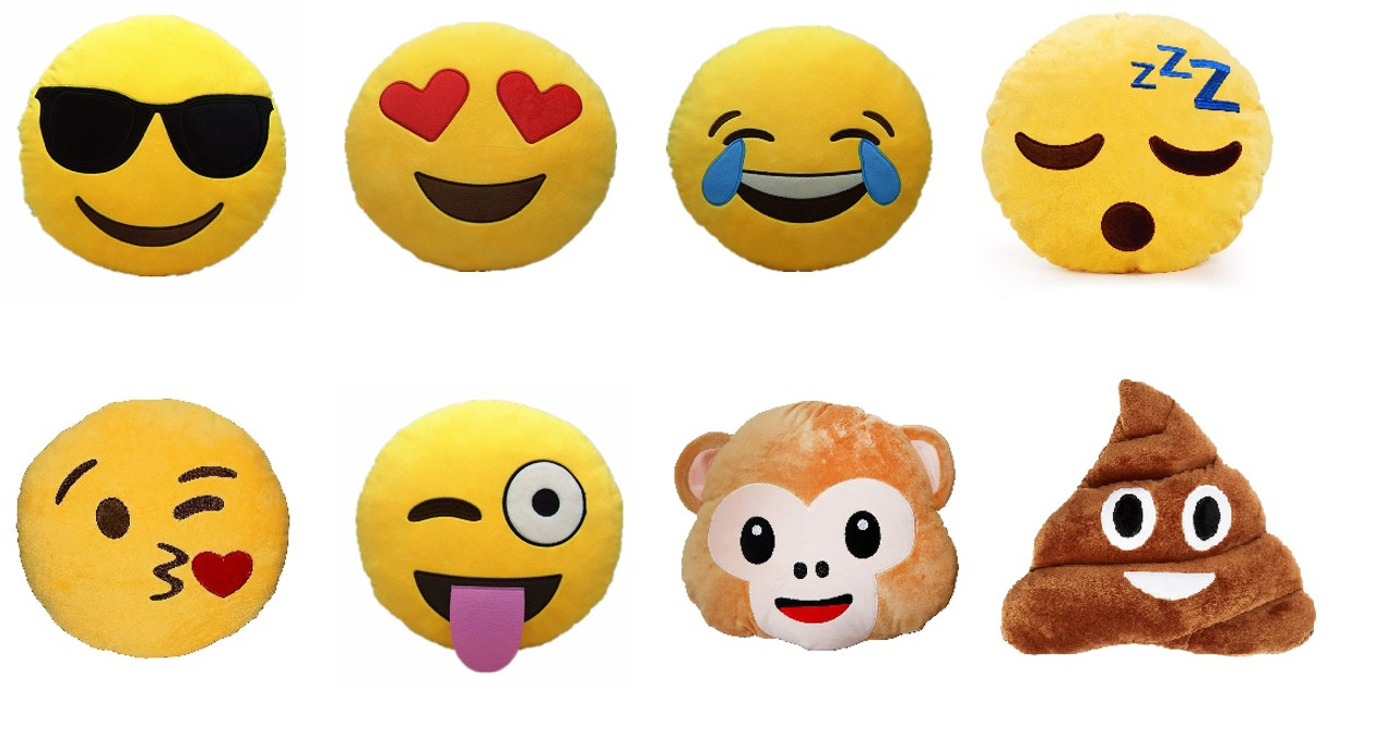 Set of 8 Emoji Pillows 12 5 Inch Large Yellow Smiley Emoticon - Heart Eyes,  Wink Blow Heart Kiss, Wink Tongue Out Cheeky, Cool Glasses, Laugh Till You