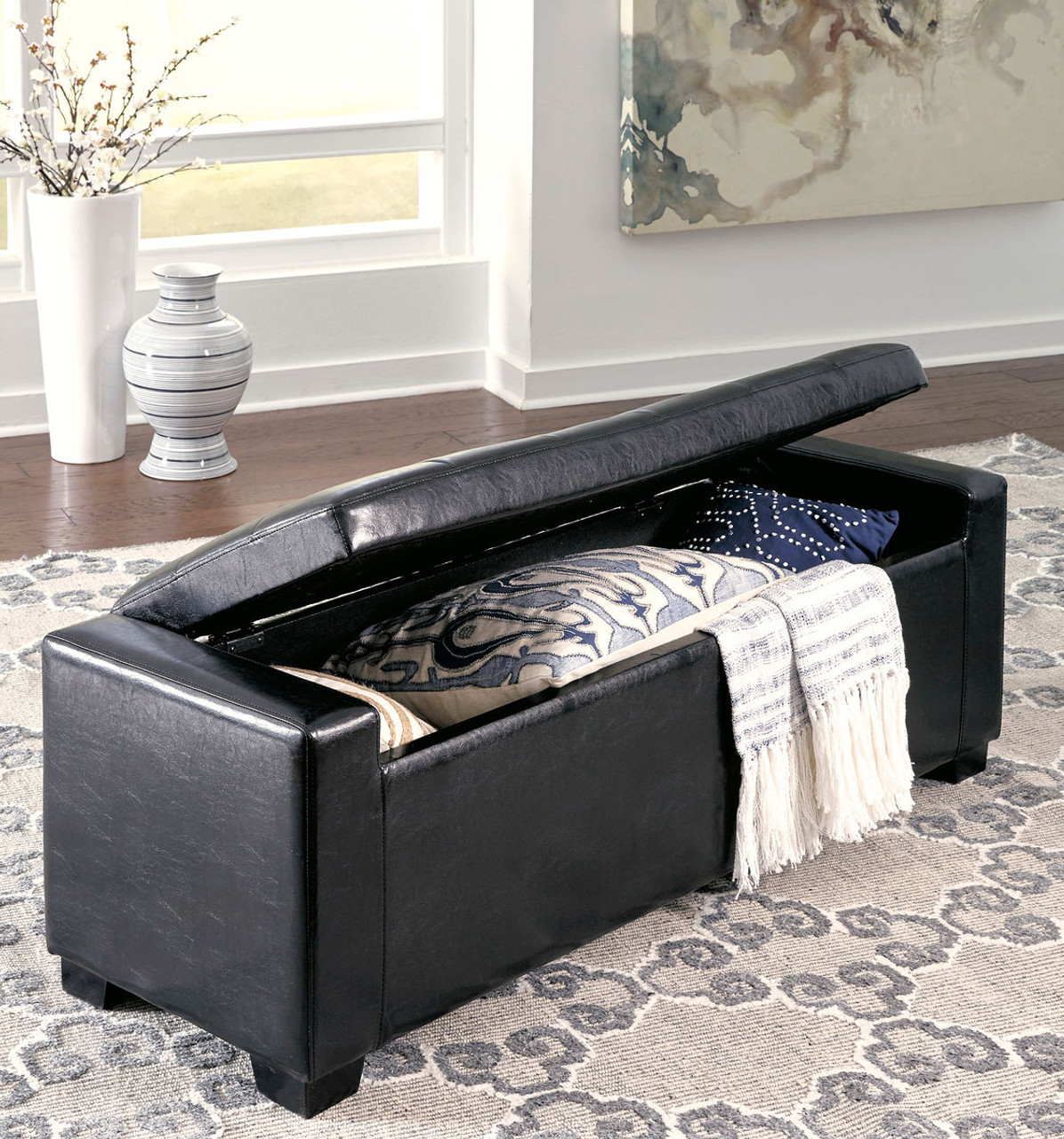 The Benches Black Upholstered Storage Bench Available At Furniture Connection Serving Clarksville Tennessee And Ft Campbell Kentucky