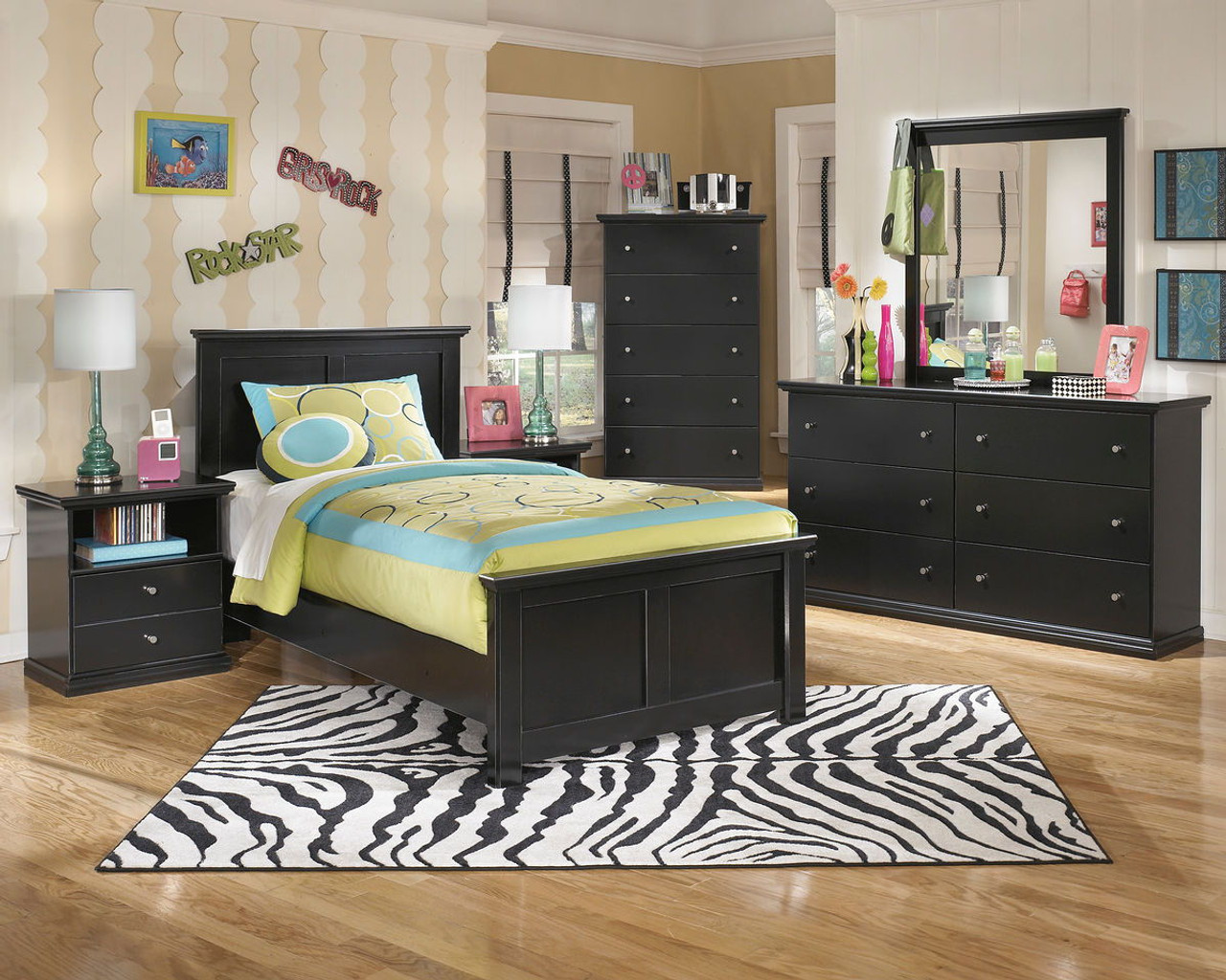 The Maribel Black 6 Pc Dresser Mirror Chest Twin Panel Bed Available At Furniture Connection Serving Clarksville Tennessee And Ft Campbell Kentucky