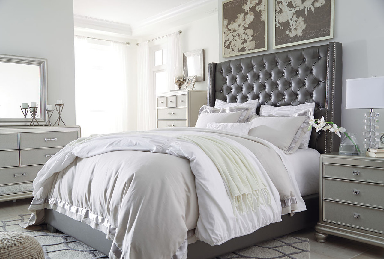 The Coralayne Silver 4 Pc Queen Upholstered Bedroom Collection Available At Furniture Connection Serving Clarksville Tennessee And Ft Campbell Kentucky