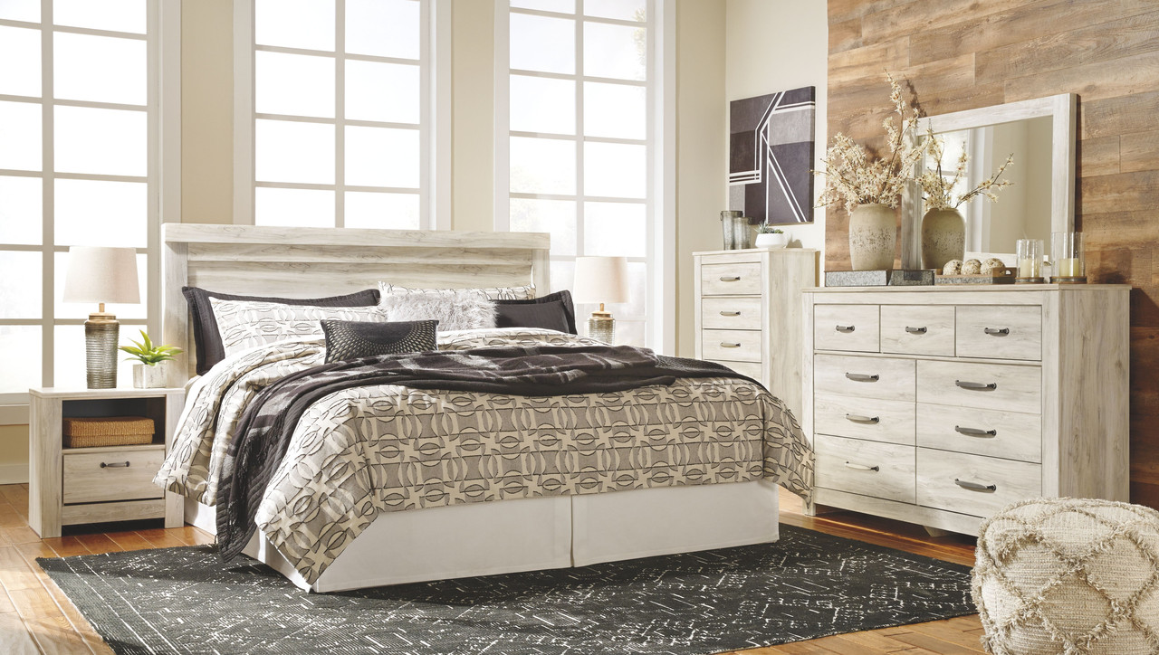 The Bellaby Whitewash 7 Pc Dresser Mirror Chest King Panel Headboard With Bolt On Bed Frame 2 Nightstands Available At Furniture Connection Serving Clarksville Tennessee And Ft Campbell Kentucky