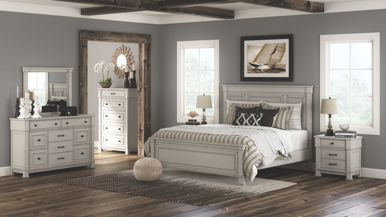 Image of: The Jennily Whitewash 7 Pc Dresser Mirror King Panel Bed 2 Nightstands Available At Furniture Connection Serving Clarksville Tennessee And Ft Campbell Kentucky