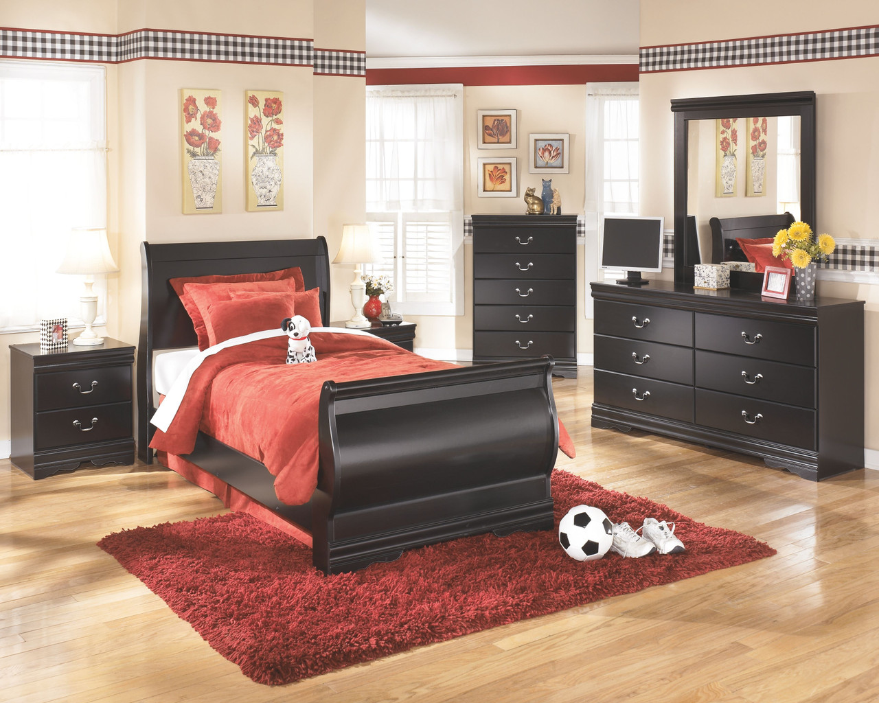 The Huey Vineyard Black 6 Pc Dresser Mirror Chest Twin Sleigh Bed Available At Furniture Connection Serving Clarksville Tennessee And Ft Campbell Kentucky