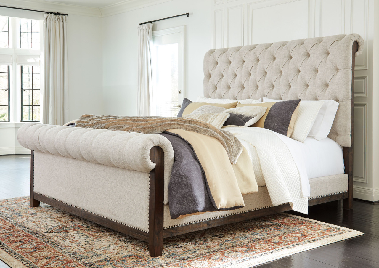 The Hillcott Dark Brown King Upholstered Bed Available At Furniture Connection Serving Clarksville Tennessee And Ft Campbell Kentucky