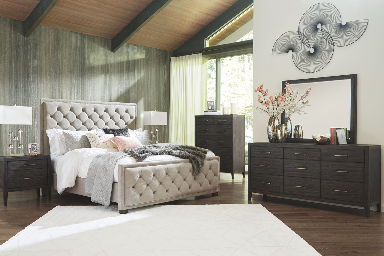 The Bellvern Dark Gray 8 Pc Dresser Mirror Chest Queen Upholstered Bed 2 Nightstands Available At Furniture Connection Serving Clarksville Tennessee And Ft Campbell Kentucky