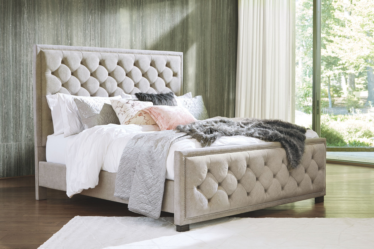 The Bellvern Gray California King Upholstered Bed Available At Furniture Connection Serving Clarksville Tennessee And Ft Campbell Kentucky