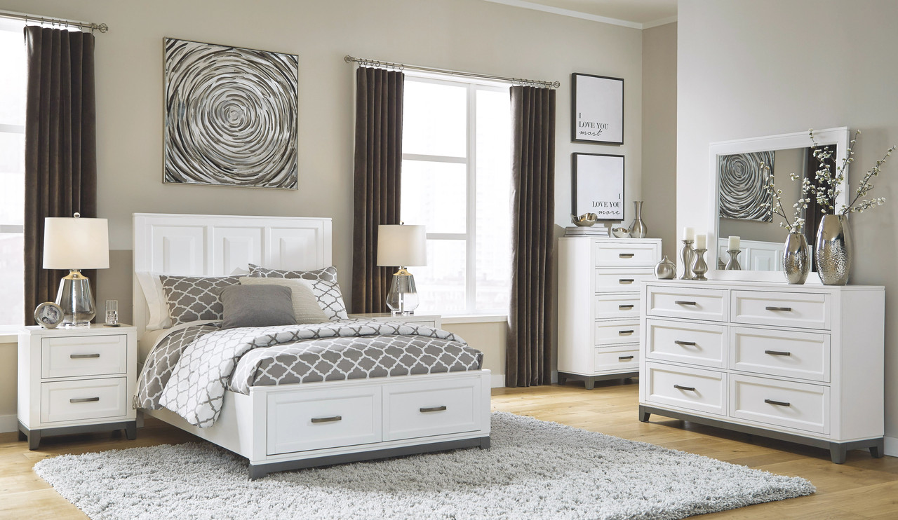The Brynburg White 8 Pc Dresser Mirror Chest Full Panel Bed 2 Nightstands Available At Furniture Connection Serving Clarksville Tennessee And Ft Campbell Kentucky