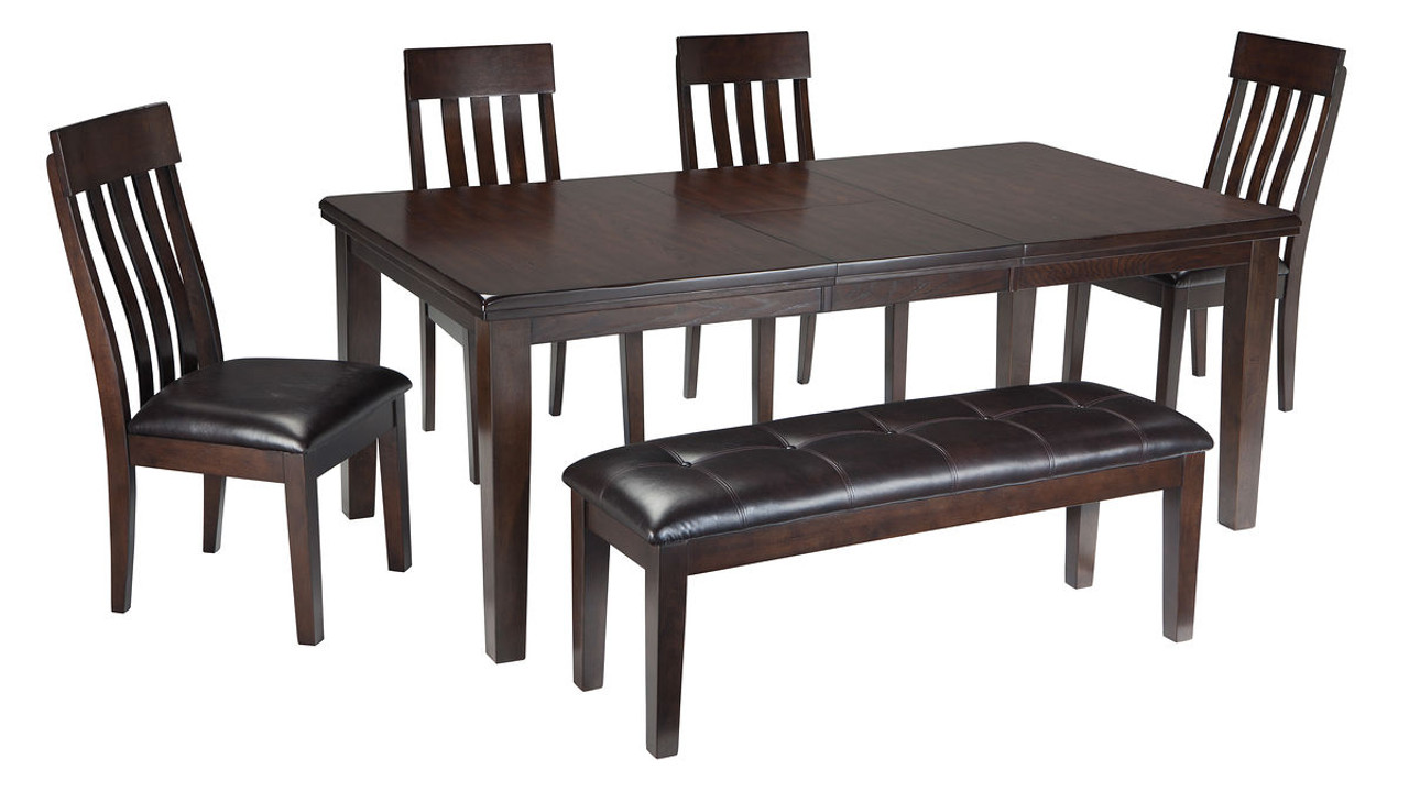 The Haddigan Dark Brown 6 Pc Rectangular Dining Room Extension Table 4 Upholstered Side Chairs Upholstered Bench Available At Furniture Connection Serving Clarksville Tennessee And Ft Campbell Kentucky