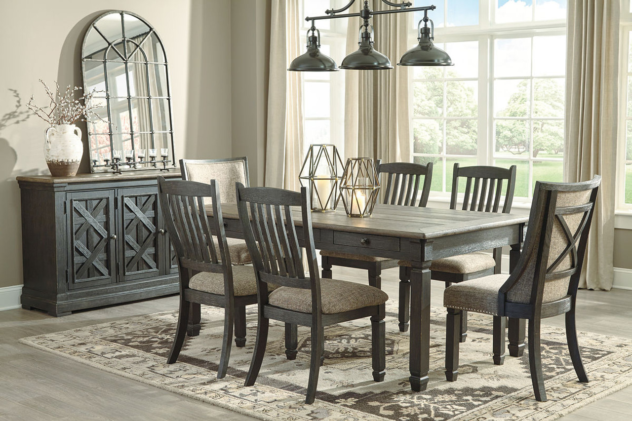Picture of: The Tyler Creek Black Gray 8 Pc Rectangular Dining Room Table 4 Uph Side Chairs 2 Dining Room Uph Side Chairs Server Available At Furniture Connection Serving Clarksville Tennessee And Ft Campbell Kentucky