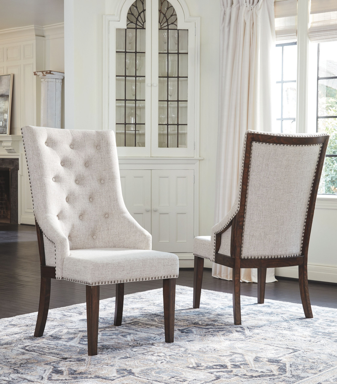 Image of: The Hillcott Dark Brown Beige Dining Upholstered Arm Chair Available At Furniture Connection Serving Clarksville Tennessee And Ft Campbell Kentucky