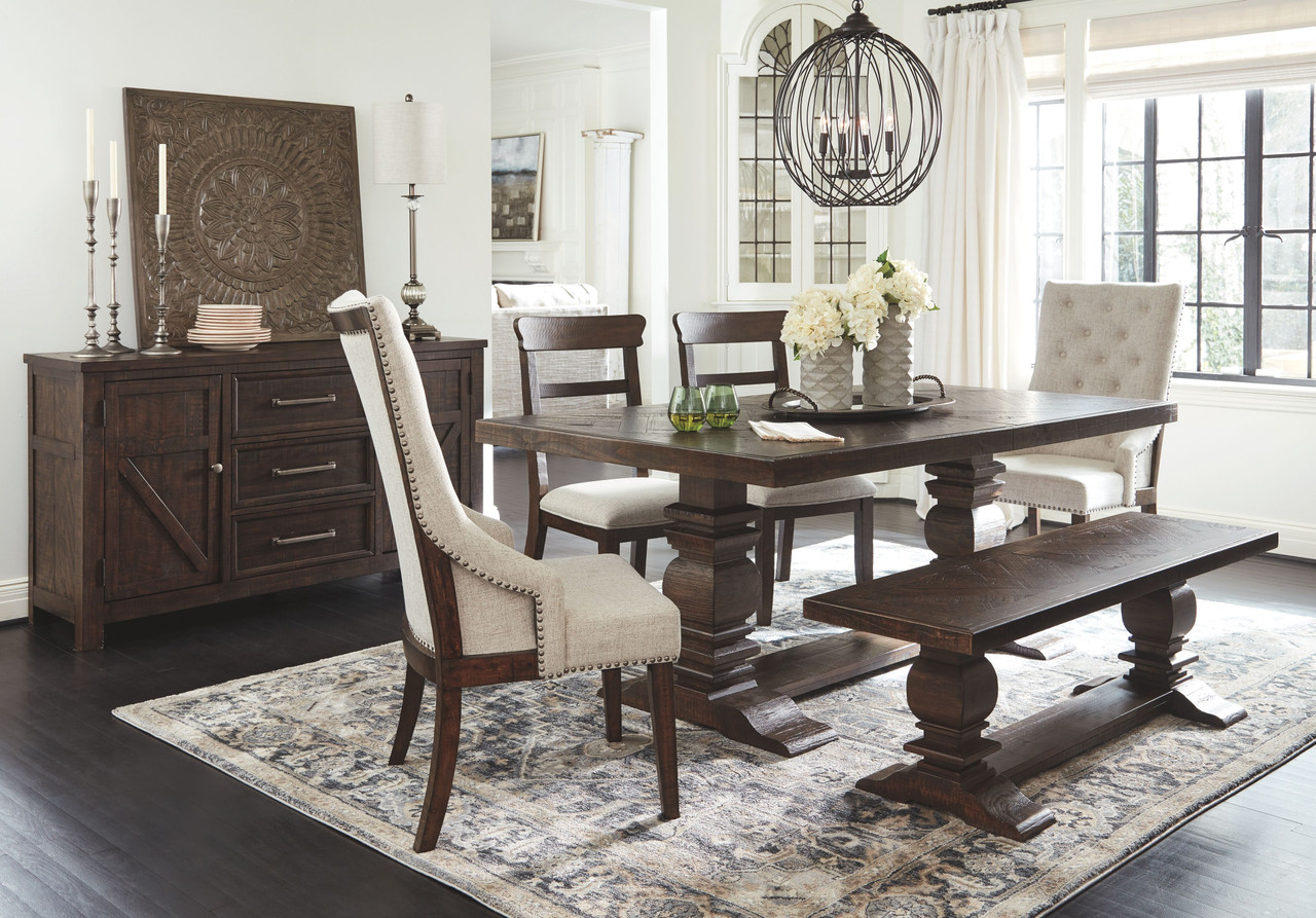 The Hillcott Dark Brown 7 Pc Rectangular Extension Table 2 Upholstered Side Chairs 2 Upholstered Arm Chairs Bench Available At Furniture Connection Serving Clarksville Tennessee And Ft Campbell Kentucky