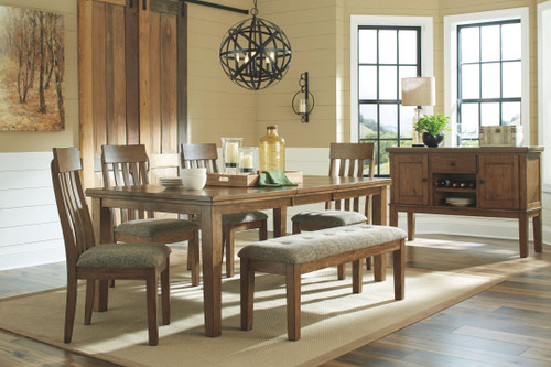 Flaybern Brown 6 Pc. Rectangular Extension Table, 4 Upholstered Side Chairs & Bench