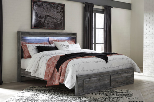 Baystorm Gray King Panel Bed with Footboard Storage