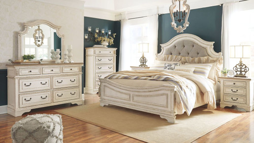 Realyn Two-tone 5 Pc. Dresser, Mirror & California King UPH Panel Bed