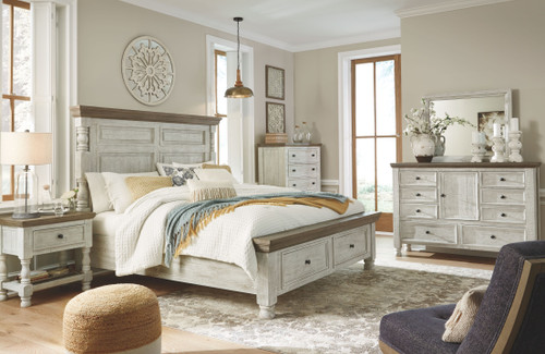 Havalance White/Gray 6 Pc. Dresser, Mirror, Chest & King Poster Bed with Storage