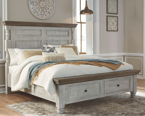 Havalance White/Gray King Poster Bed with Storage