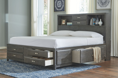 Caitbrook Gray California King Storage Bed