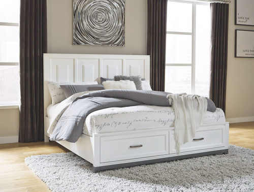 Brynburg White Queen Panel Bed with 2 Storage Drawers