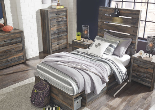 Drystan Multi Dresser, Mirror, Chest, Twin Panel Bed with 4 Storage Drawers & 2 Nightstands