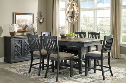 Tyler Creek Black/Gray 8 Pc. Rectangular Dining Room Counter Table, 6 UPH Barstools & Server
