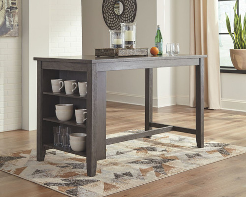 Caitbrook Dark Gray Rectangular Dining Room Counter Table