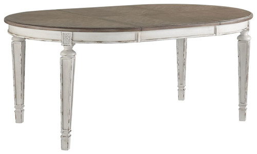 Realyn Chipped White Oval Dining Room EXT Table