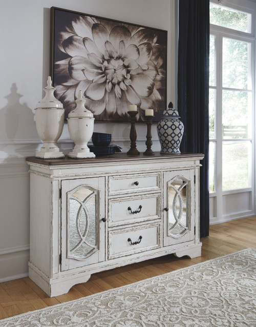 Realyn Chipped White Dining Room Server