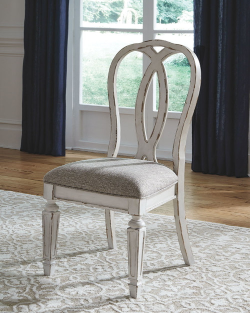 Realyn Chipped White 5 Pc. Rectangular EXT Table & 4 Upholstered Side Chairs