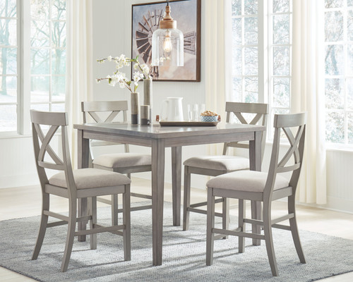 Parellen Gray 5 Pc. SQ Counter Table & 4 Upholstered Barstools