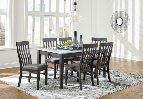 Luvoni White/Dark Charcoal Gray 7 Pc. Rectangular Table & 6 Upholstered Side Chairs