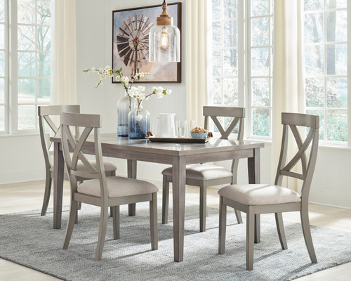 Parellen Gray 5 Pc. Rectangular  Table & 4 Upholstered Side Chairs