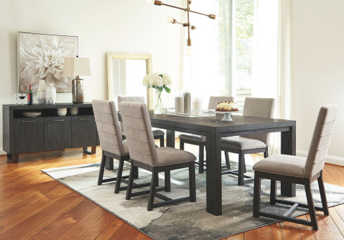 Bellvern Dark Gray 8 Pc. Rectangular Dining Room Table, 6 Upholstered Side Chairs, Server