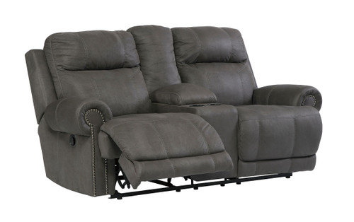 Austere Gray Double Rec Loveseat with Console