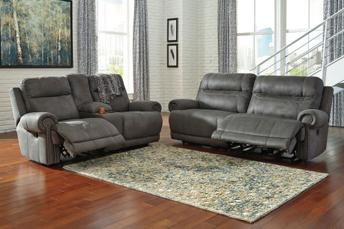 Austere Gray 2 Seat Reclining Sofa & Double Rec Loveseat with Console