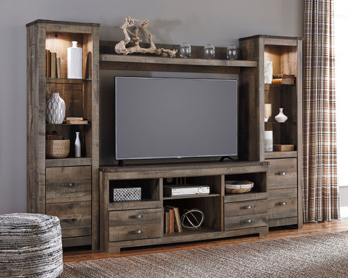 Trinell Entertainment Center Large TV Stand, 2 Tall Piers & Bridge