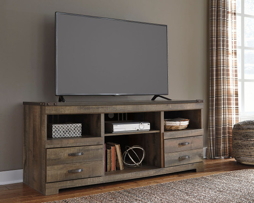 Trinell Brown Large TV Stand with Fireplace Option