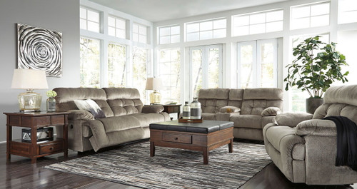 Brassville Graystone 2 Seat Reclining Power Sofa, DBL Reclining Power Loveseat with Console & Wide Seat Power Recliner