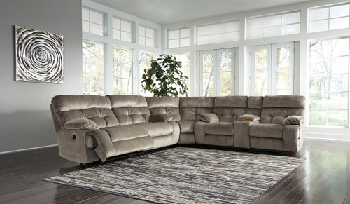 Brassville Graystone 2 Seat Reclining Sofa, Wedge & DBL Reclining Loveseat with Console Sectional