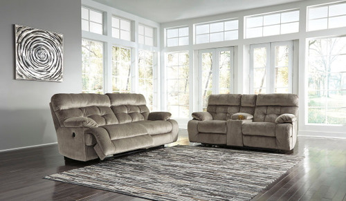 Brassville Graystone 2 Seat Reclining Power Sofa & DBL Reclining Power Loveseat with Console