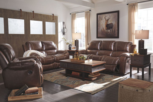 Rackingburg Mahogany Reclining Sofa, Reclining Loveseat & Rocker Recliner
