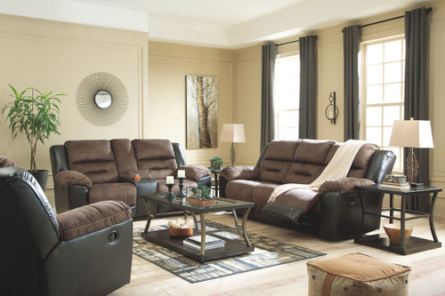 Earhart Chestnut REC Sofa, DBL REC Loveseat with Console & Rocker Recliner