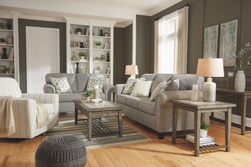 Alandari Gray Sofa, Loveseat & Swivel Glider Accent Chair